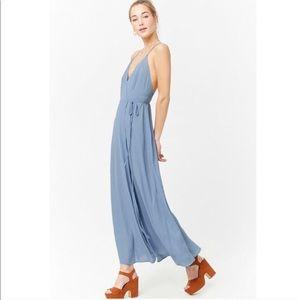 Forever 21 light blue polka dot wrap dress